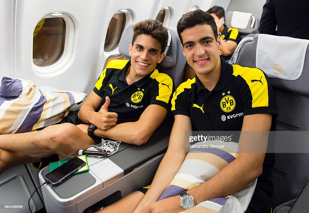 Marc Bartra and Mikel Merino are ready for takeoff back to Germany after Borussia Dortmund's Asia Tour 2016 on July 29, 2016 in Hongkong.