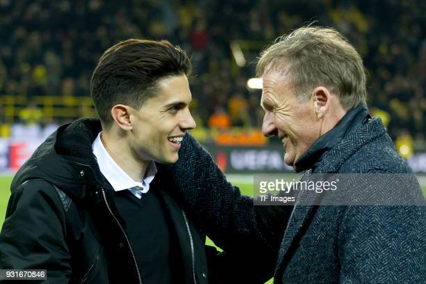 Marc Bartra ex player of Borussia Dortmund at his official farewell receves a present from HansJoachim Watzke prior the UEFA Europa League Round of...