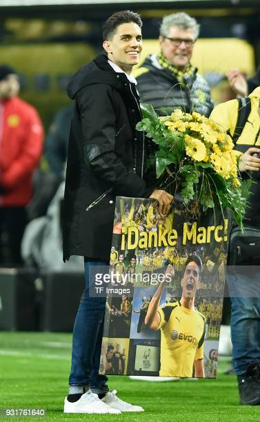 Marc Bartra ex player of Borussia Dortmund at his official goodbye prior to UEFA Europa League Round of 16 match between Borussia Dortmund and FC Red...
