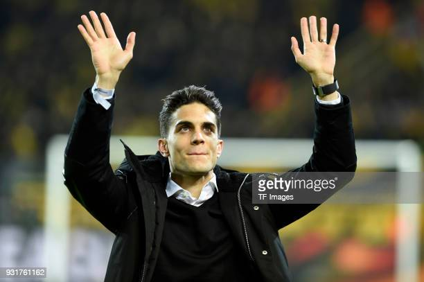 Marc Bartra ex player of Borussia Dortmund is saying goodbye prior to UEFA Europa League Round of 16 match between Borussia Dortmund and FC Red Bull...