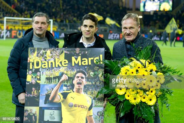 Marc Bartra ex player of Borussia Dortmund poses at his official farewell with HansJoachim Watzke CEO of Borussia Dortmund and Director of Sports...