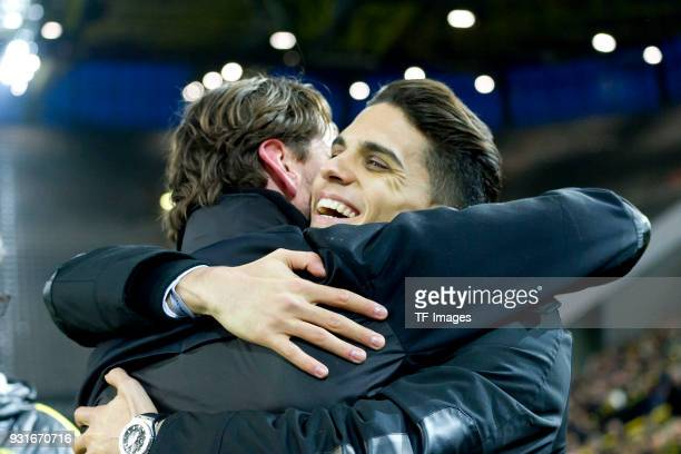 Marc Bartra ex player of Borussia Dortmund says farewell with Goalkeeper Roman Weidenfeller of Dortmund during the UEFA Europa League Round of 16...