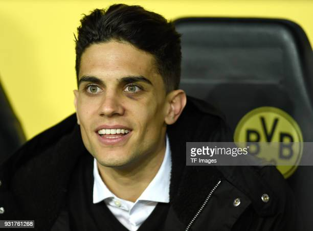Marc Bartra laughs prior to UEFA Europa League Round of 16 match between Borussia Dortmund and FC Red Bull Salzburg at the Signal Iduna Park on March...