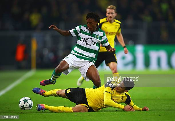Marc Bartra of Borussia Dortmund and Gelson Martins of Sporting CP in action during the UEFA Champions League Group F match between Borussia Dortmund...