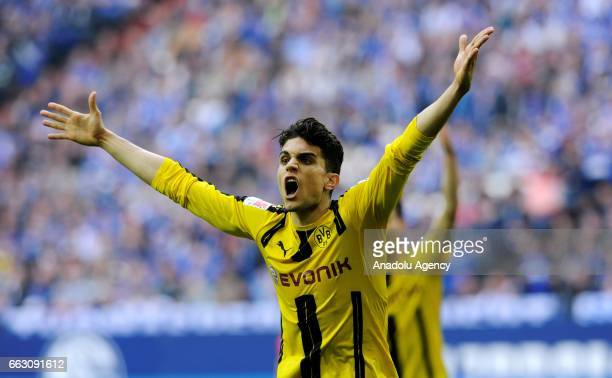 Marc Bartra of Borussia Dortmund celebrates during the German Bundesliga soccer match between FC Schalke 04 and Borussia Dortmund at Veltins Arena in...