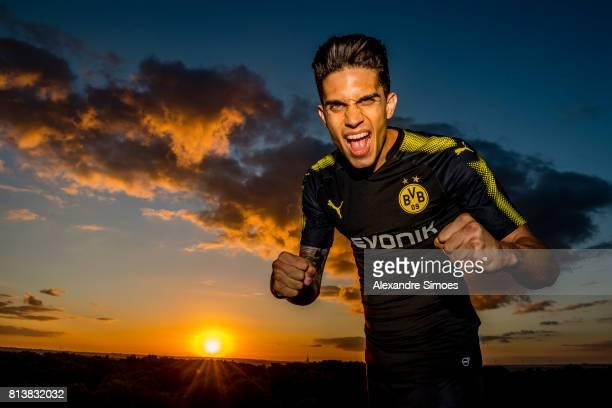 Marc Bartra of Borussia Dortmund presents the new PUMA away jersey on July 13 2017 in Dortmund Germany