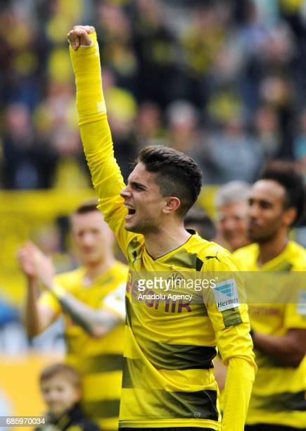 Marc Bartra of Dortmund celebrates after their victory at the end of the Bundesliga soccer match between Borussia Dortmund and Werder Bremen at the...
