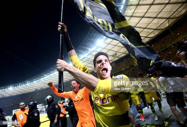 Marc Bartra of Dortmund celebrates after winning the DFB Cup final match between Eintracht Frankfurt and Borussia Dortmund at Olympiastadion on May...