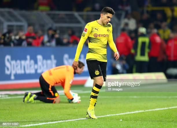 Marc Bartra of Dortmund looks on during the Bundesliga match between Borussia Dortmund and FC Schalke 04 at Signal Iduna Park on November 25 2017 in...