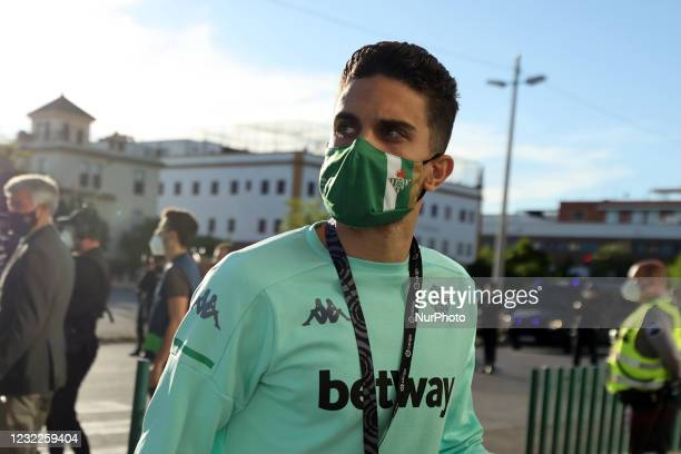 Marc Bartra of Real Betis Balompie arrives to the Stadium prior the La Liga Santander match between Real Betis and Atletico de Madrid at Estadio...