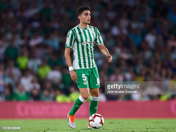 Marc Bartra of Real Betis Balompie in action during the La Liga match between Real Betis Balompie and Levante UD at Estadio Benito Villamarin on...