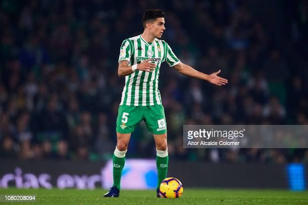 Marc Bartra of Real Betis Balompie in action during the La Liga match between Real Betis Balompie and Rayo Vallecano de Madrid at Estadio Benito...
