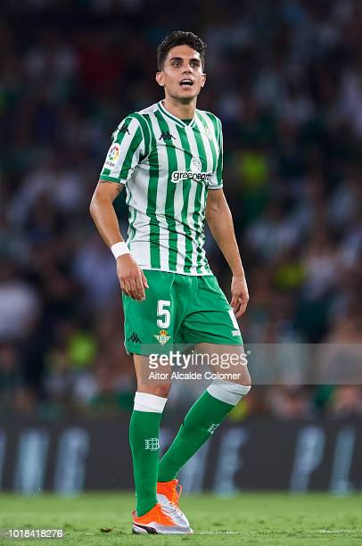 Marc Bartra of Real Betis Balompie looks on during the La Liga match between Real Betis Balompie and Levante UD at Estadio Benito Villamarin on...