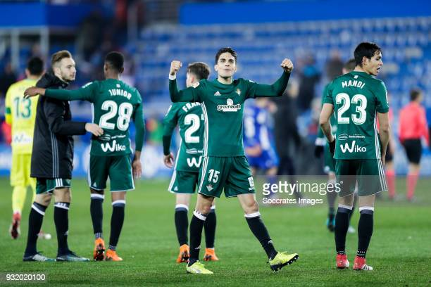 Marc Bartra of Real Betis celebrates the victory during the La Liga Santander match between Deportivo Alaves v Real Betis Sevilla at the Estadio de...