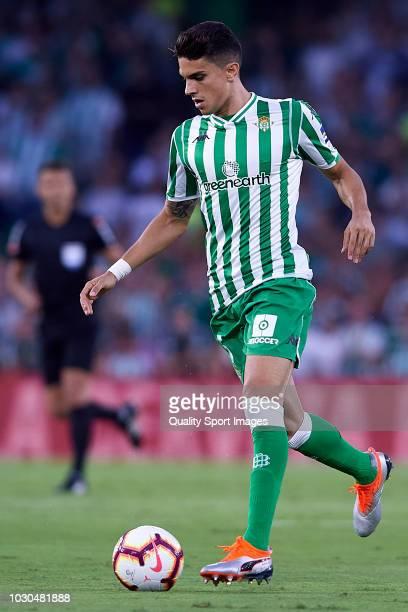 Marc Bartra of Real Betis in action during the La Liga match between Real Betis Balompie and Sevilla FC at Estadio Benito Villamarin on September 2...