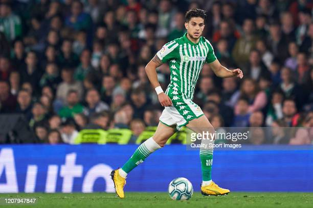 Marc Bartra of Real Betis in action during the La Liga match between Real Betis Balompie and RCD Mallorca at Estadio Benito Villamarin on February 21...
