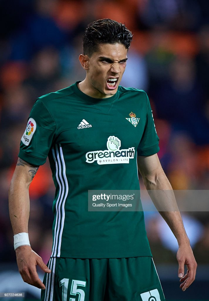 Marc Bartra of Real Betis reacts during the La Liga match between Valencia and Real Betis at Mestalla Stadium on March 4, 2018 in Valencia, Spain.