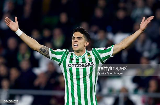 Marc Bartra of Real Betis reacts during the UEFA Europa League Group F match between Real Betis and Olympiacos at Estadio Benito Villamarin on...