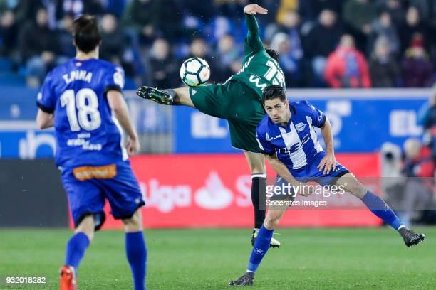 Marc Bartra of Real Betis Ruben Sobrino of Deportivo Alaves during the La Liga Santander match between Deportivo Alaves v Real Betis Sevilla at the...