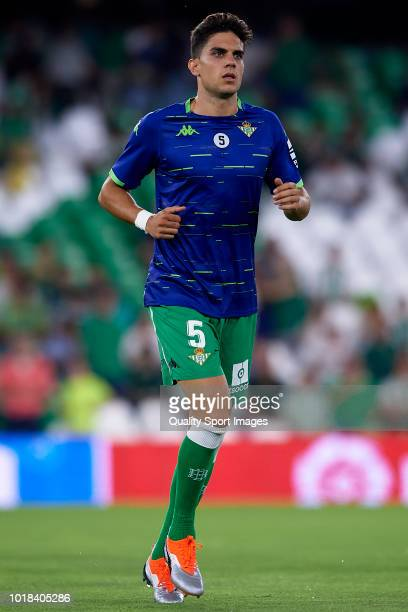 Marc Bartra of Real Betis warms up prior to the La Liga match between Real Betis Balompie and Levante UD at Estadio Benito Villamarin on August 17...