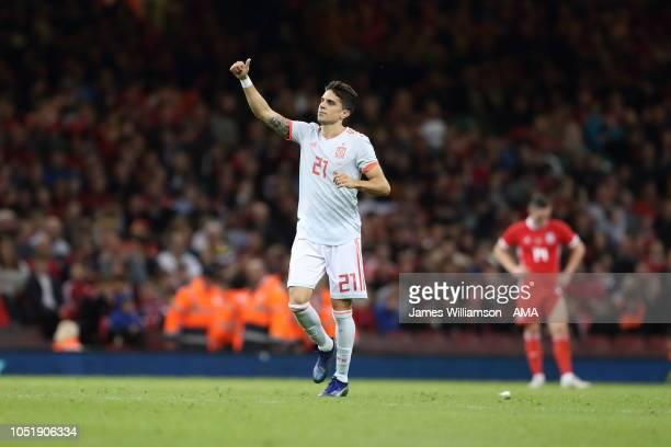 Marc Bartra of Spain celebrates after scoring a goal to make it 40 during the International Friendly match between Wales and Spain on October 11 2018...