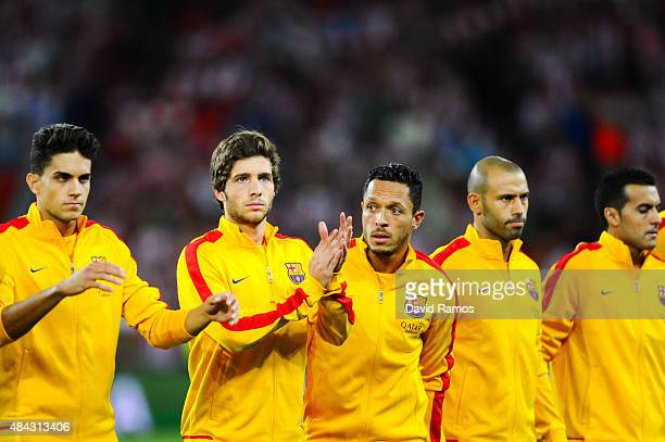 Marc Bartra Sergio Roberto Adriano Correia Javier Mascherano and Pedro Rodriguez of FC Barcelona look on prior to the Spanish Super Cup first leg...