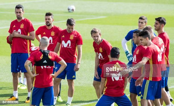 Marc Bartraof Spain Monrealof Spain David Villaof Spain Sergio Busquetsof Spain Kepaof Spain Marco ASensio and César Azpilicueta looks on during a...