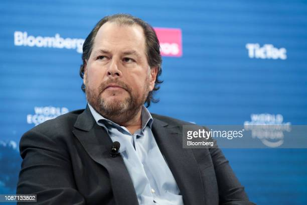 Marc Benioff billionaire and cofounder and chief executive officer of Salesforcecom Inc looks on during a panel session on day two of the World...