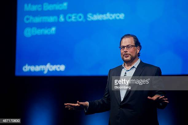 Marc Benioff, chairman and chief executive officer of Salesforce.com Inc., speaks during the DreamForce Conference in San Francisco, California,...