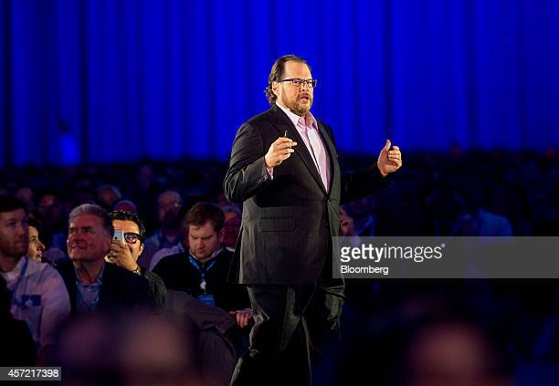 Marc Benioff, chairman and chief executive officer of Salesforce.com Inc., delivers a keynote address during the DreamForce Conference in San...