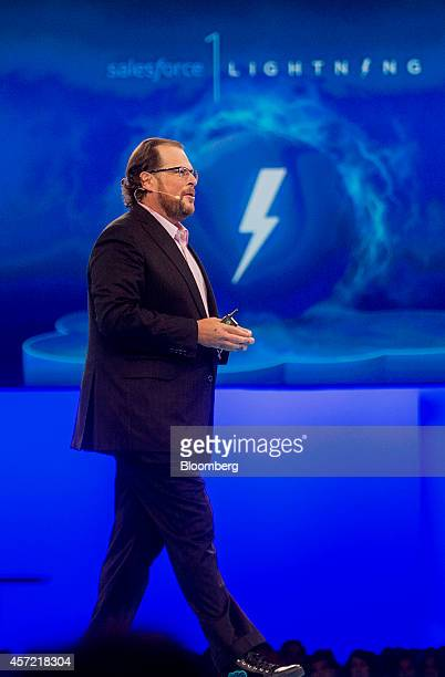 Marc Benioff, chairman and chief executive officer of Salesforce.com Inc., introduces Salesforce 1 Lightning during the DreamForce Conference in San...