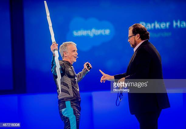 Marc Benioff, chairman and chief executive officer of Salesforce.com Inc., right, and Parker Harris, co-founder of Salesforce.com Inc., introduce...