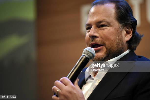 Marc Benioff chairman and chief executive officer of Salesforcecom Inc speaks during the Dreamforce Conference in San Francisco California US on...
