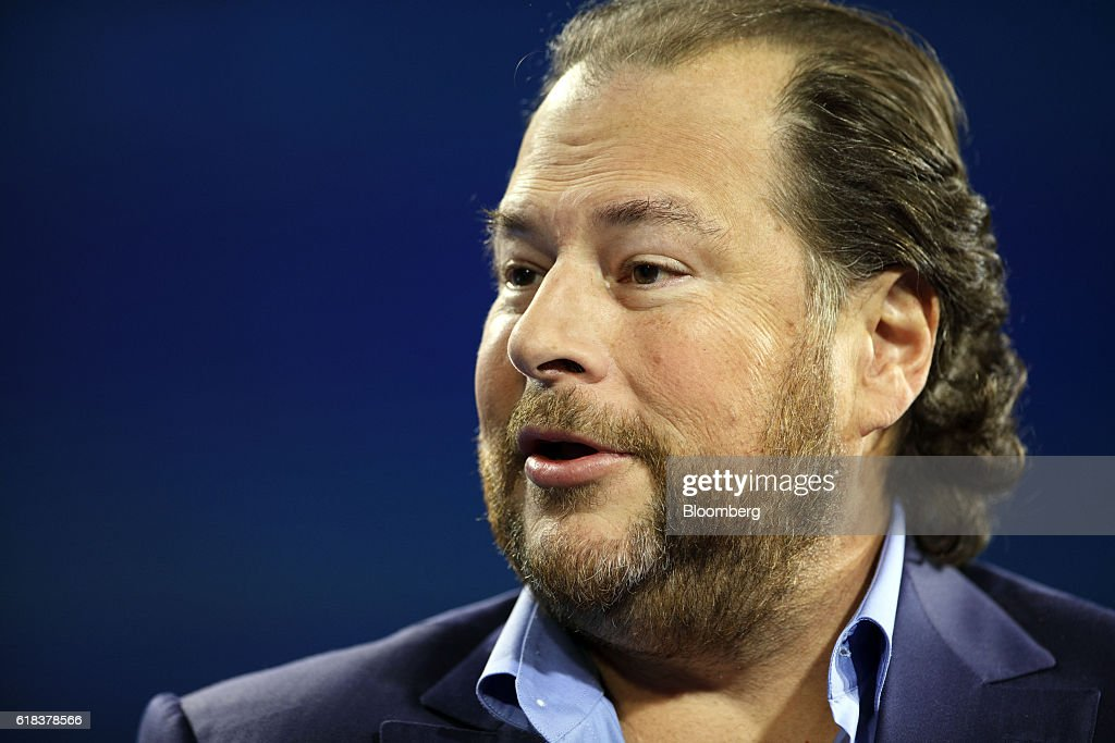 Marc Benioff, co-founder and chief executive officer of Salesforce.com Inc., speaks during the WSJDLive Global Technology Conference in Laguna Beach, California, U.S., on Wednesday, Oct. 26, 2016. The conference brings together an unmatched group of top CEOs, founders, pioneers, investors and luminaries to explore tech opportunities emerging around the world. Photographer: Patrick T. Fallon/Bloomberg via Getty Images
