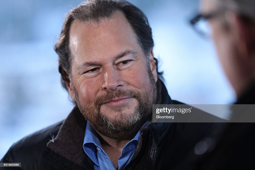 Marc Benioff, co-founder and chief executive officer of Salesforce.com Inc., pauses during a Bloomberg Television interview at the World Economic Forum (WEF) in Davos, Switzerland, on Wednesday, Jan. 18, 2017. World leaders, influential executives, bankers and policy makers attend the 47th annual meeting of the World Economic Forum in Davos from Jan. 17 - 20. Photographer: Simon Dawson/Bloomberg via Getty Images