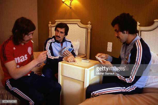 Marc Berdoll Bruno Baronchelli and Omar Sahnoun of France during the stage of Team France at Le Touquet before the World Cup 1978 on 30th April 1978