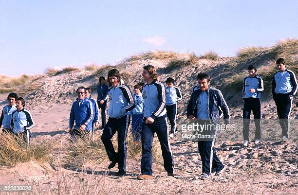 Marc Berdoll Patrice Rio Marc Bourrier during the stage of Team France at Le Touquet before the World Cup 1978 on 30th April 1978