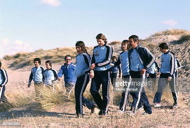 Marc Berdoll Patrice Rio Raymond Keruzore Marc Bourrier during the stage of Team France at Le Touquet before the World Cup 1978 on 30th April 1978