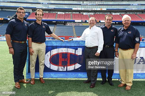 Marc Bergen Brian Flynn Gary Bettman Geoff Molson and Yvan Cournoyer of the Montreal Canadiens announce the 2016 NHL Winter Classic at the Gillette...