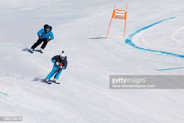Marc Berthod of Switzerland Bruno Kernen of Switzerland cameramens during the Audi FIS Alpine Ski World Cup Men's Downhill Training on January 16...