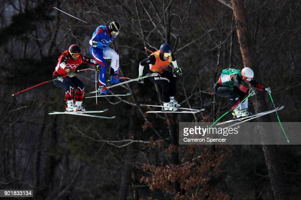 Marc Bischofberger of Switzerland Brady Leman of Canada Jamie Prebble of New Zealand and Terence Tchiknavorian of France compete in the Freestyle...