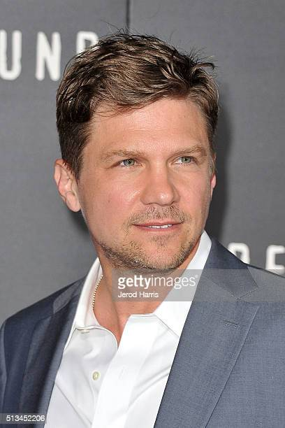 Marc Blucas arrives at the Premiere of WGN America's 'Underground' at The Theatre at The Ace Hotel on March 2 2016 in Los Angeles California