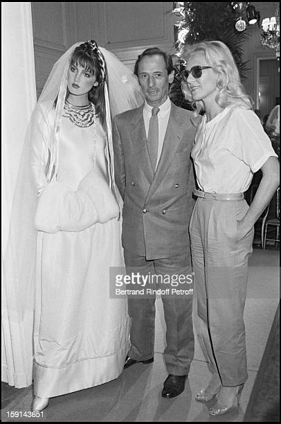 Marc Bohan a model and Sylvie Vartan attend the presentation of Christian Dior's Haute Couture Fall Winter 198182 fashion collection