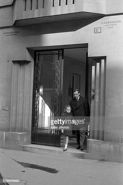 Marc Bohan French fashion designer at Dior accompanying his daughter at school in Paris In 1961