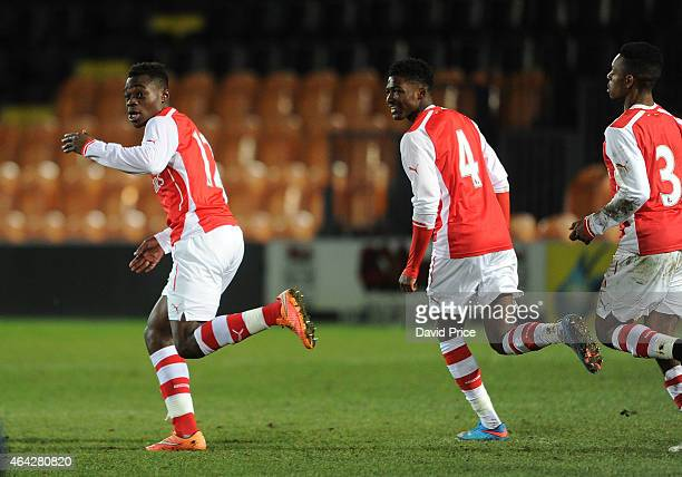 Marc Bola celebrates scoring Arsenal's 2nd goal with Ainsley Maitland-Niles during the match between Arsenal U18 and Crewe Alexandra U18 in the FA...