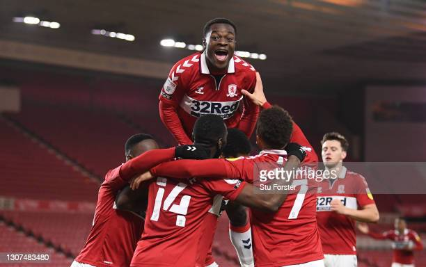 Marc Bola joins the celebrations after Marcus Tavernier of Middlesbrough had scored the second Boro goal during the Sky Bet Championship match...