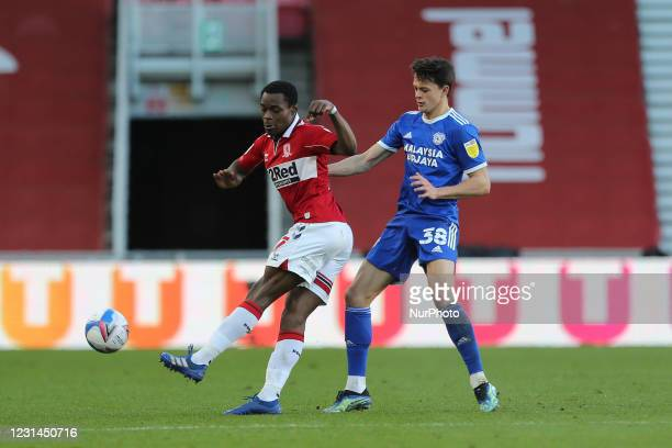 Marc Bola of Middlesbrough in action with Cardiff City's Perry Ng during the Sky Bet Championship match between Middlesbrough and Cardiff City at the...