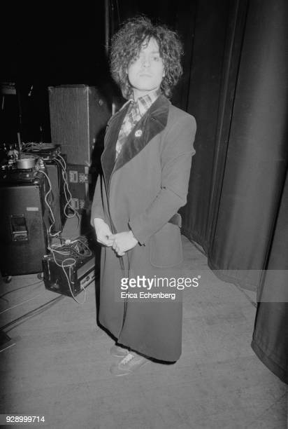Marc Bolan backstage during 'Dandy In The Underworld' tour United Kingdom 1977 He was supported on the tour by punk band The Damned