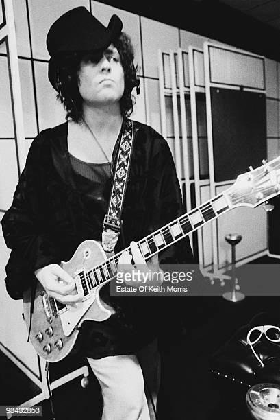 Marc Bolan lead singer and guitarist of British glam rock band T Rex at Scorpio Studios in London 1974