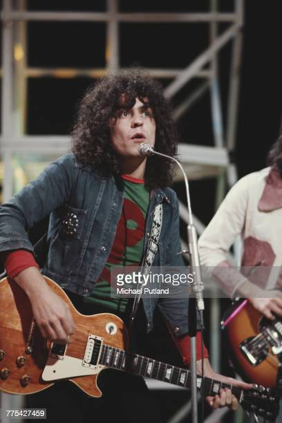 Marc Bolan of English glam rock group TRex performs with Gibson Les Paul guitar on the BBC television show 'Top of the Pops' London 4th August 1971